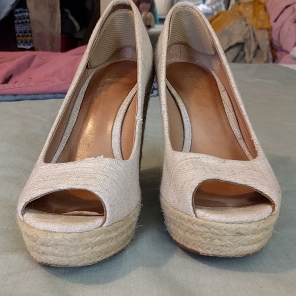 Coach Shoes - Linen Coach Peeptoe Espadrilles